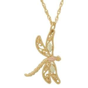 Gold Dragonfly Black Hills Pendant Necklace Jewelry