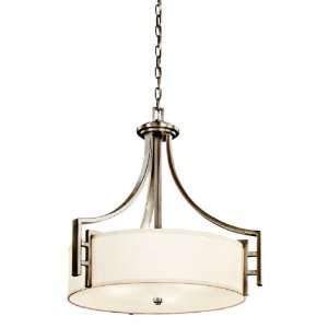 Quinn 3 Light Pendant, Antique Pewter with White Linen Fabric Shades