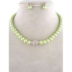 Fashion Jewelry ~ Green Glass Pearls Necklace and Earrings