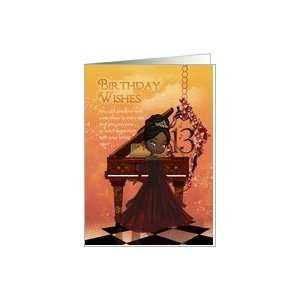 Piano Happy 13th Birthday Greeting Card With Cute African