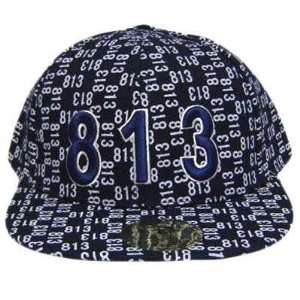813 NAVY WHITE FLAT BILL FITTED CAP HAT MEDIUM