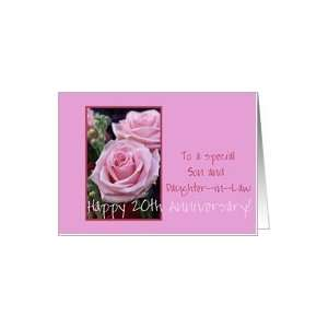 20th Anniversary pink roses for son & daughter in law Card