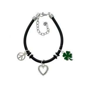 Four Leaf Clover Black Peace Love Charm Bracelet Arts, Crafts