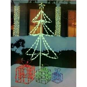 5 foot lighted christmas tree with lighted gift boxes