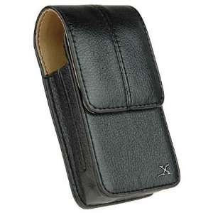 Vertical Genuine black leather pouch case with belf clip for AT&T LG