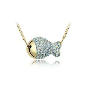 Fully Studded Fish Crystal Charm Pendant Necklace Jewelry