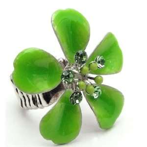 Large Green Flower Crystal Studded Stretch Ring Jewelry