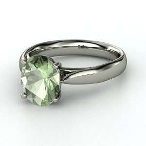 Solitaire Ring, Oval Green Amethyst Sterling Silver Ring Jewelry