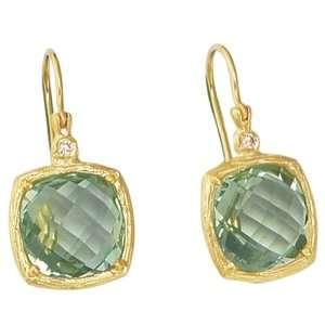 Oro Gemma Collection Fancy Gold & Green Amethyst Earrings Jewelry