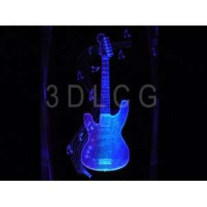 Electric Guitar Musical Instrument 3D Laser Etched Crystal