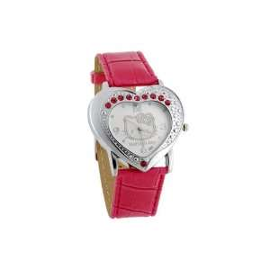 Hello Kitty Heart shaped Diamond Leather band Women Girls Wrist Watch