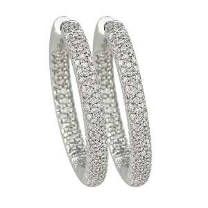 14K White Gold 1 ct. Pave Set Diamond Huggie Earrings Jewelry