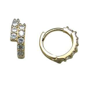 Two Tier Pave 14K Yellow Gold Huggie Earrings Jewelry