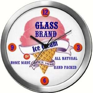 GLASS 14 Inch Ice Cream Metal Clock Quartz Movement
