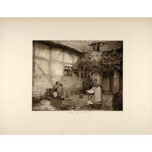 1892 Photogravure Women Washing Day Laundry Shottery