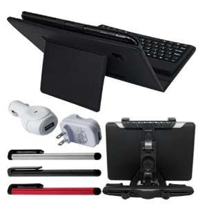Premium Black Leather Case With Bluetooth Keyboard + 3
