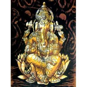 Indian God Lord Ganesh Ganesha Cotton Fabric Tapestry Batik Painting