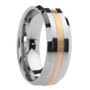 8 mm Mens Tungsten Carbide Rings Wedding Bands Pipe Cut