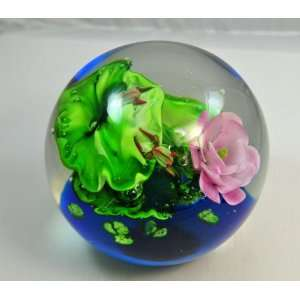 Murano Glass 200mm Frogs Lilypads & A Pink Flower Crystal Ball Glass