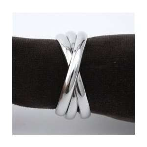 Objet Three Platinum Napkin Rings Set of 4  Kitchen