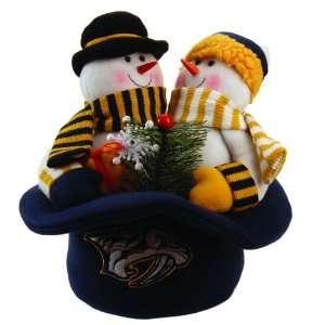 12 NHL Nashville Predators Snowmen Top Hat Table Christmas Decoration