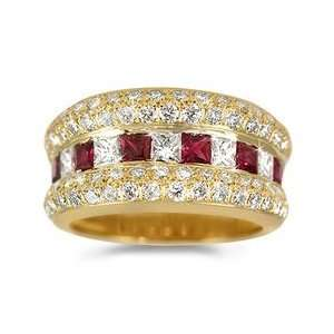CleverEves Princess Cut Ruby/Diamond Ring in 18k Yellow Gold size 11