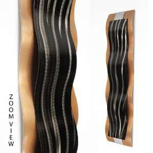 Copper, Black, Silver Modern Abstract Metal Wall Art Sculpture Copper
