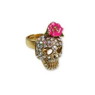 Betsey Johnson Jewelry Vampire Slayer Skull Rose Ring