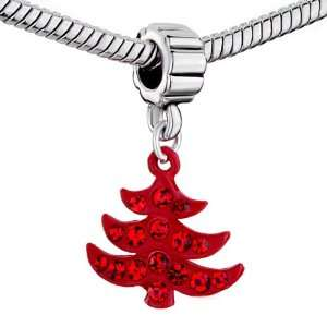 Xmas Crystal Tree Beads Fits Pandora Charm Bracelet Pugster Jewelry