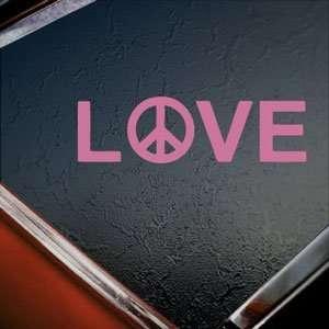 PEACE LOVE Pink Decal Truck Bumper Window Vinyl Pink