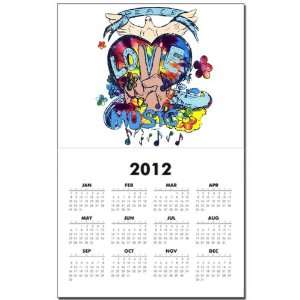 Calendar Print w Current Year Peace Love Music   Peace Symbol Sign