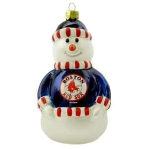 Boston Red Sox MLB Blown Glass Snowman Ornament Sports