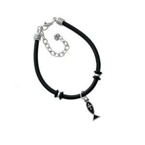 Enamel Christian Fish with Silver Cross Black Charm Bracelet [Jewelry