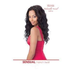 French Twist 100% Human Hair Weave Extensions By Sensual, 8 #1b Off