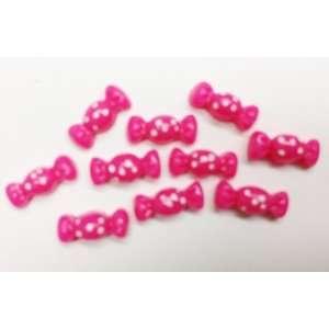 10pc Mini Hot Pink Candy Flat Back Resins Cabochons Nail