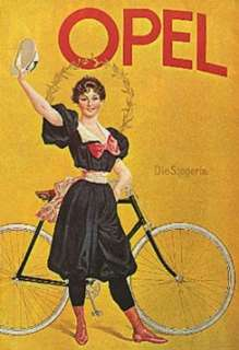OPEL GIRL RIDING BICYCLE BIKE CYCLES SMALL VINTAGE POSTER