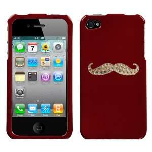 Red and White Crystal Rhinestone Bling Bling Mustache for At&t Sprint