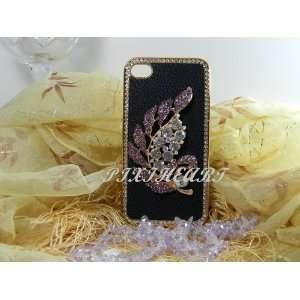 Elegant 3D purple rhinestone leaf case for iphone 4/4s