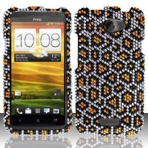 GOLD LEOPARD Hard Plastic Bling Rhinestone Case for HTC