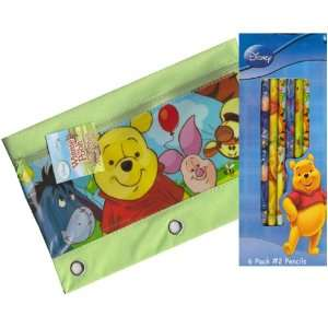 Disney Winnie the Pooh Zippered Pencil Case Pouch for 3 Ring