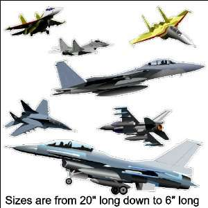 Peel and Stick Jet Fighter Decals Wall Stickers Repositionable (Sizes