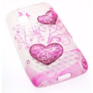 Hearts with Pink Butterfly Soft Diamond Silicone Skin Gel Cover Case