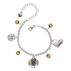 Spider with Gold Legs Love & Luck Charm Bracelet with Top Jewelry