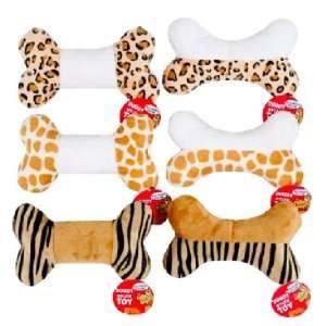 Pyara Paws Animal Print Plush Squeaky Dog Toys, Set of 6