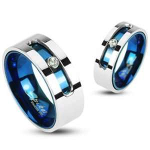 Rings Set Bride and groom Couple 316L Stainless Steel Blue IP Double