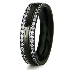 5mm Stainless Steel Black Plated Ring with CZ Accents
