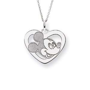 Sterling Silver Mickey Mouse Heart Charm Pendant   Officially Licensed