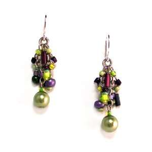 Beaded Dangle Earrings with Swarovski Crystal Elements Jewelry