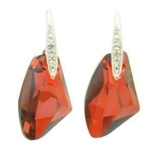 Swarovski Crystal Burgundy Pebble Silver Earrings Jewelry