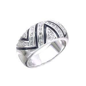 Womens Pave Clear Swarovski Crystal Rhodium Ring, Size 5 11 Jewelry